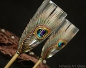 Wedding Set Peacock Feathers Wedding Toasting Champagne Flutes and Cake Server set, Hand Painted,set of 2