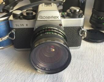 Vintage camera  Rollieflex camera SL 35 E  28mm lens 50mm lens 105mm lens