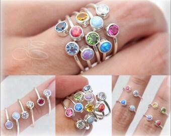 DUAL BIRTHSTONE RING - dual gemstone ring, dual opal ring, mother's ring, birthstone ring, two birthstones, dual gemstone ring, silver gold