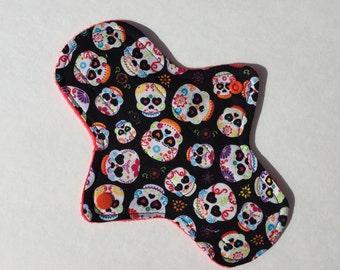 8.5 Inch Cloth Menstrual Pad Regular Flow Skulls