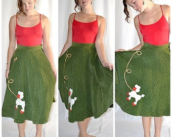SALE Thru July Vintage 1950s Olive Green Quilted Corderoy Circle Skirt With White and Red Poodle Applique 25 Inch Waist