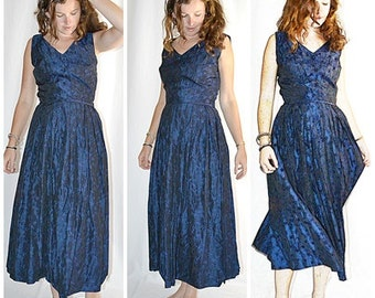 Vintage 1940s Cobalt Blue Floral Silk Brocade Formal Dress 30 Inch Waist
