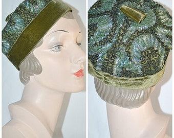 SALE Vintage 1960s Hand Beaded Green Silk and Velvet Pill Box Style Hat Leslie James