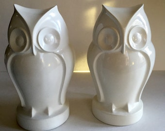 Vintage Pair White Owl Sculpture Heavy Bookends