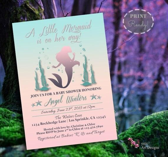 little mermaid inspired baby shower invitation, under the sea, Baby shower invitations