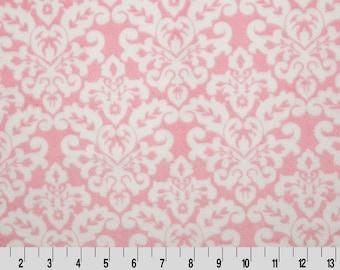 Minky Sale fabric-Shannon Fabrics Cuddle Print-Damask print-Blush Damask