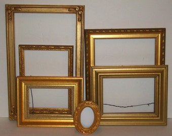 6 Shades of Gold Picture Frames for Gallery Wall, Wedding Decor