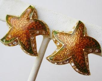 Vintage 80s Gold Erwin Pearl Rhinestone Enamel Starfish Clip Earrings