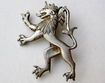 Vintage Sterling Silver Griffin Royal Kingdom Coat of Arms Crest Brooch Pin