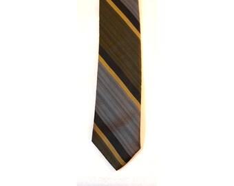 Men's 50s Tie - Downtown Style 1950s Gray & Olive Striped Skinny Tie - Diagonal Stripes - Neutral Colors - 50's Necktie - 37146-1
