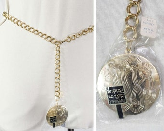 60s Chain Belt - Goldtone Medallion Disk - 1960s Hip Belt - Adjustable Size - Small Medium Large - Faux Monogram - Mint Condition - 45444