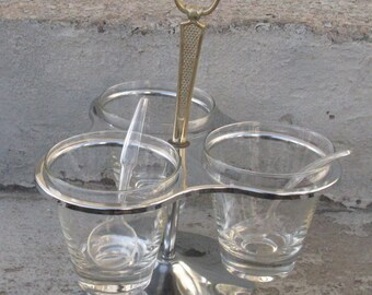 mid century chrome condiment caddy chrome glass caddy mid century entertaining