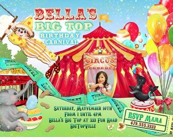 Photo Carnival Birthday Party Invitations, Big Top Birthday Party, Party Invitations, Circus Birthday Party