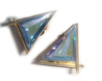 Iridescent Blue Lavender Swarovski Crystal Earrings  - Geometric Earrings - Crystal Clip On Earrings