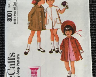 Vintage McCall's 8001 Girl's Fashion Dress and Coat Sewing Pattern Size 5 CUT and Complete