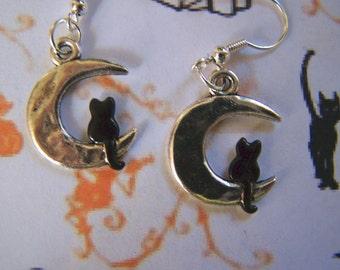 Black Cat on the Moon Earrings Halloween