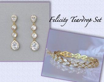 GOLD Crystal Jewelry Set, Bracelet and Earring Set, Crystal Bridal Bracelet, Gold Crystal Teardrop Earrings FELICITY