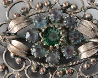 Edwardian Saphiret Czech Brooch and Green Stone and German Silver Filigree Floral Edwardian