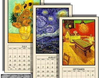 "HALF PRICE 2017 Digital Calendar Download and Print 5"" X 10"" Pages Van Gogh Painting Images 12 Different Images 2017 CAL 3"