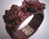 Vintage Carved Bakelite Bracelet Clamper Art Deco Floral Rich Chocolate Brown