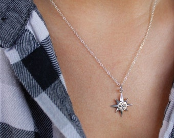 North Star Compass Necklace - Sterling Silver -  Let your compass be your Guide - Graduation Gift, Friendship necklace, Journey, True North