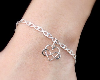 Infinity Heart Bracelet -  Sterling Silver Infinity Heart Bracelet - Love, Intertwined Heart, Figure Eight, Gift for Her, Bridal, Bridesmaid