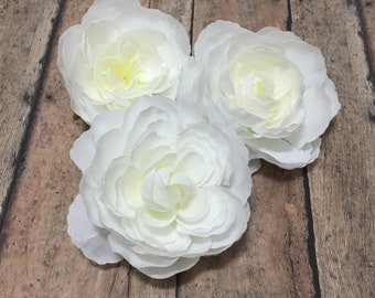 Silk Flowers - Three Ranunculus Flowers in CREAM WHITE - 3 Inches - Artificial Flowers