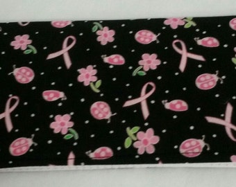 Pink Ribbons Fabric Checkbook Cover Coupon Holder Clutch Purse Billfold Ready-Made