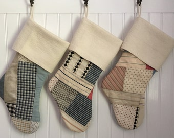 Christmas Stocking Family Set of 5 Vintage Patchwork Quilt with Cream Cuff Country Christmas Farmhouse Cabin Rustic