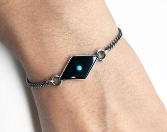 HARLEQUIN Sterling Chain Bracelet Onyx & Turquoise