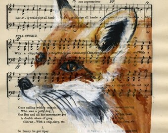 "Fox, Original watercolor,  on antique book page - The Scottish Student Song Book 10"" x 7"""