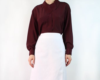 VINTAGE Collar Blouse Plum Red Long Sleeve Large