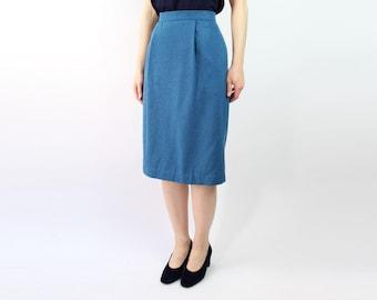 VINTAGE Pencil Skirt Blue Wool