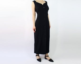 VINTAGE 1990s Black Dress Gown Long