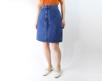 VINTAGE Denim Pencil Skirt Blue High Waist