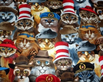 Kitty Fabric  Cats With Hats Timeless Treasures Cotton Fabric Cat Fabric Sewing Supply Quilting Supply