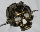 Antique Gold Skeleton Mask with Steampunk Detailing - Steampunk Mask
