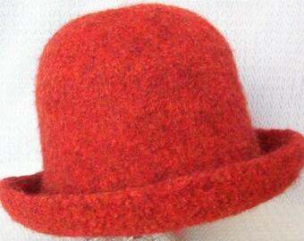 Felted Wool knit medium rolled brim hat