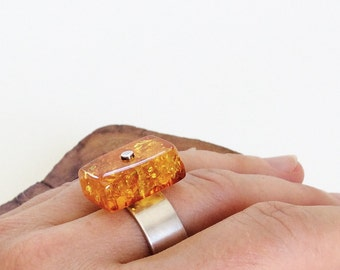 Unique Baltic Amber Ring size 8, 11