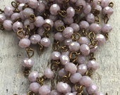sale American Artisan assembled Handmade Beaded Chain opaque POWDER LAVENDER roundel 6x4 mm Faceted Crystal Beads