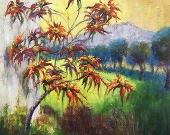 Poinsettia Painting, Red Flower Painting, Original Oil Painting, Landscape Painting, Large Modern Painting,  Andalusia Spain, Impressionist