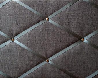 "Pin Board/Notice Board ""Dark Grey Linen Fabric with Chrome Trim"" Message, Memo, Bulletin Board, 48 x 29cm /18 x 12"" Hangs Landscape"