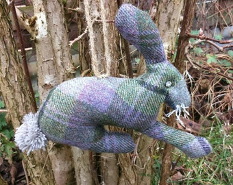 Rustic Hare hanging  decoration spring Easter tweed