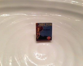 1 small square lapel pin / brooch - made on a scrabble tile