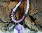 """Purple amethyst necklace 18"""" long  crystal reversible oval pendant semiprecious stone jewelry in a gift bag February birthstone 10748"""