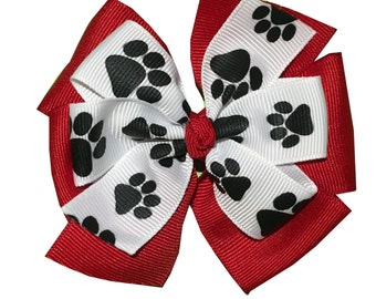Paw Print Layered Hair Bow - Pick Your Solid Color - Large 4 inch Bow - Stacked Hair Clip - Spirit Wear - Mascot - Cat, Dog, Bear
