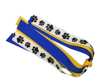 Paw Print Ponytail Streamer - Pick Two Solid Colors - Spirit Wear - Mascot - Cat, Dog, Bear, Tiger, Wolf - PTA Fundraiser