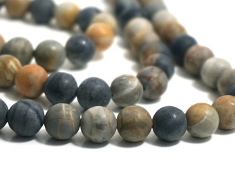 10mm Matte Picasso Jasper beads, round natural gemstone, full & half strands available  (1237s)