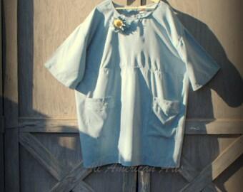 New Steel Blue Handmade Tunic, 3XL to 4XL Boho Style Plus Size