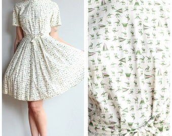 1950s Dress // Ship Shore Sailor Dress // vintage 50s novelty print dress